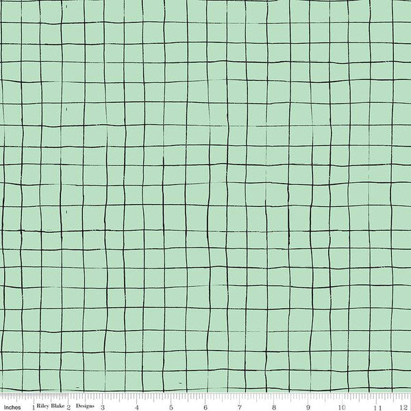 SCAREDY CAT GRID - MINT from the Scaredy Cat Fabric Line for Riley Blake Designs, Toad Hollow Fabrics