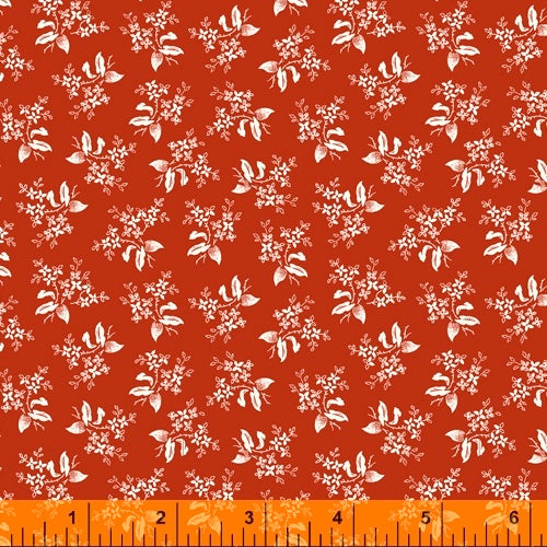 Scarlett - Small Bouquet on Red, by Windham, 100% Cotton, Toad Hollow Fabrics