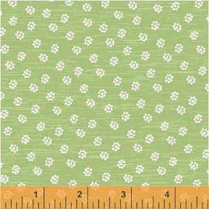 A STITCH IN TIME - Green Flowers - by Whistler Studios, 100% Cotton, Toad Hollow Fabrics