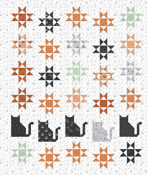 SCAREDY CAT QUILT PATTERN from the Scaredy Cat Fabric Line for Riley Blake Designs, Toad Hollow Fabrics