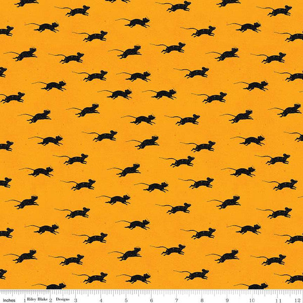 GOOSE TALES BLIND MICE ORANGE from the Goose Tales Fabric Line for Riley Blake Designs, Toad Hollow Fabrics