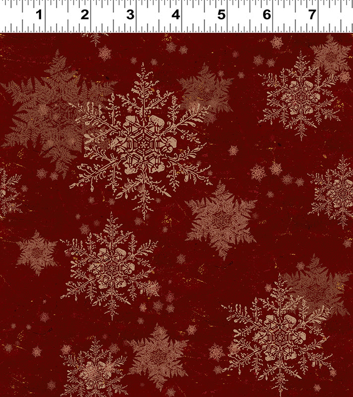 SNOWFLAKES in Dark Red from the Let Nature Sing Line, Toad Hollow Fabrics