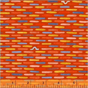 SWEET OAK - Inchworms on Red Background by Striped Pear Studio, 100% Cotton, Toad Hollow Fabrics