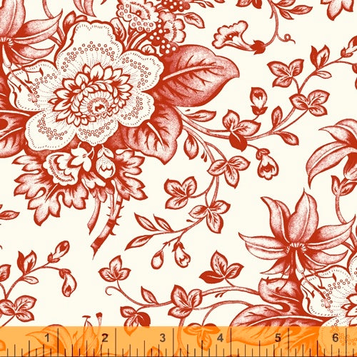 Scarlett - Red Flowers on Cream, by Windham, 100% Cotton, Toad Hollow Fabrics