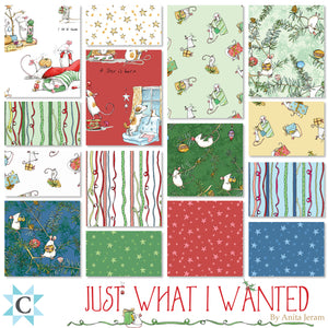 CHRISTMAS SCENES in Red from the Just What I Wanted Fabric Line, Toad Hollow Fabrics