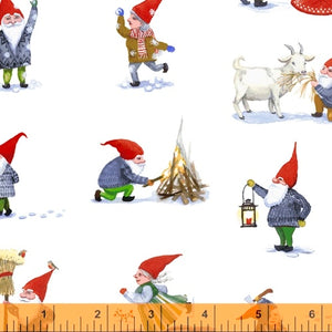WINTER GNOMES - PLAY on white from the Winter Gnomes Line, Toad Hollow Fabrics