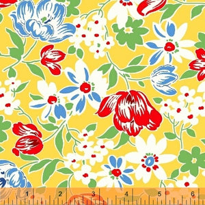 SUGARSACK II- Large Flowers/Yellow Background - by Whistler Studios, 100% Cotton, Toad Hollow Fabrics