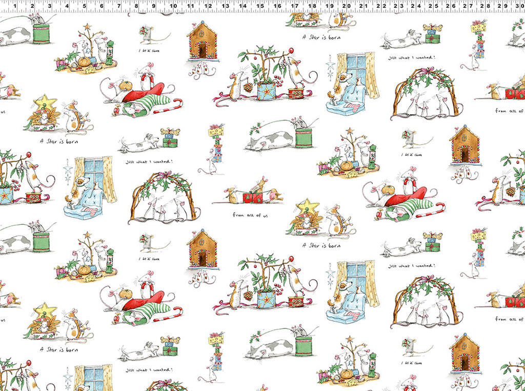 PRESENTS in White from the Just What I Wanted Fabric Line, Toad Hollow Fabrics