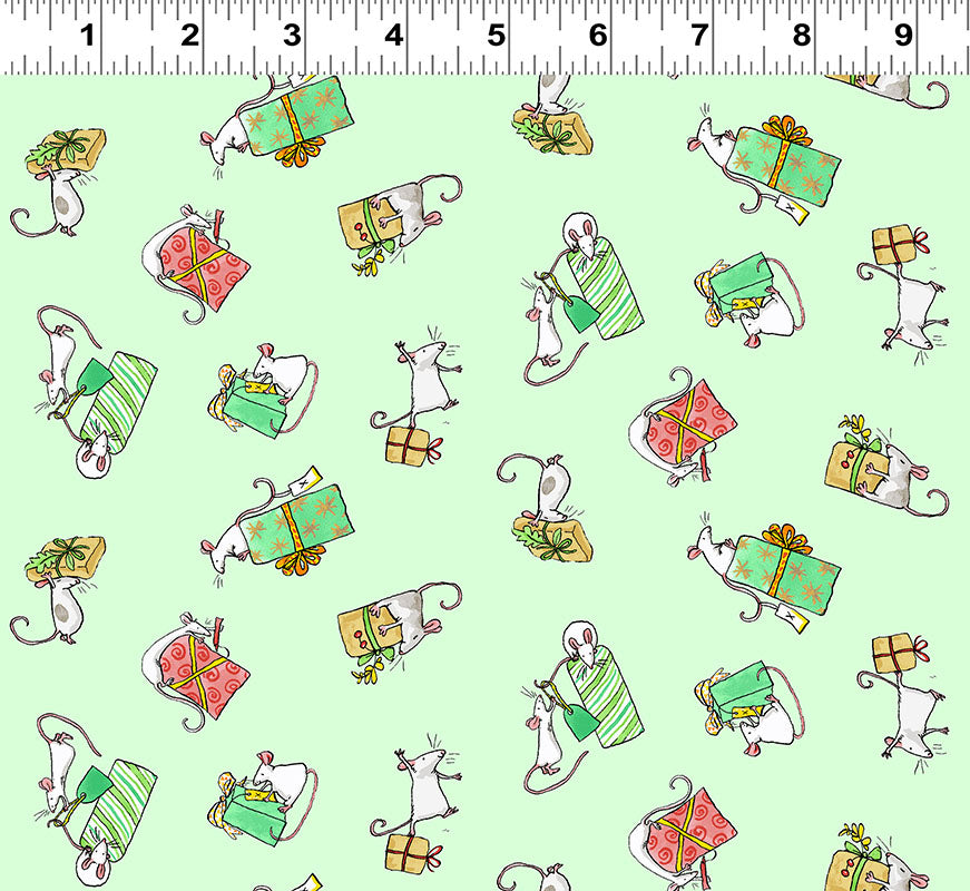 PRESENTS in Light Mint from the Just What I Wanted Fabric Line, Toad Hollow Fabrics