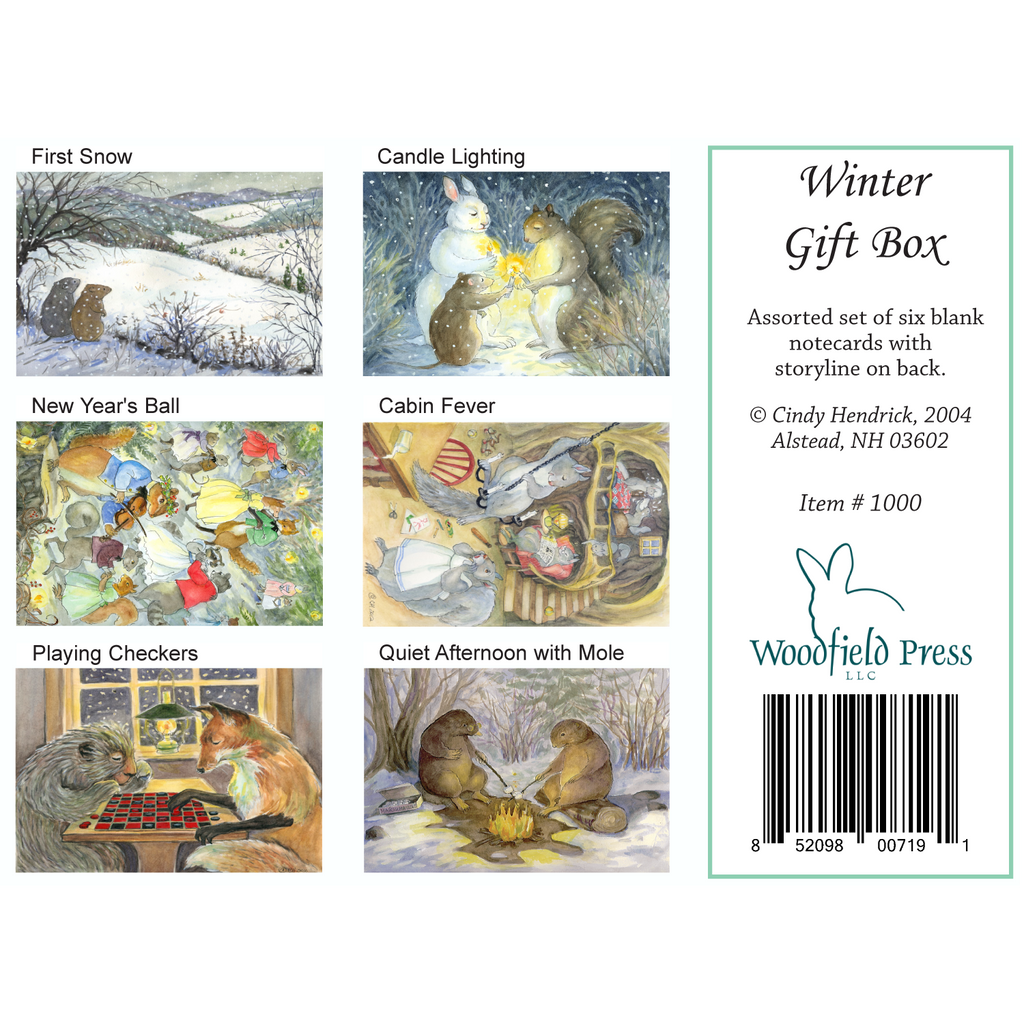 WINTER GIFT BOX SET of cards - Box of 6 Cards from Woodfield Press Toad Hollow Fabrics