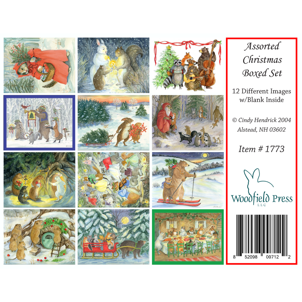 ASSORTED CHRISTMAS CARDS - Box of 12 Cards from Woodfield Press Toad Hollow Fabrics