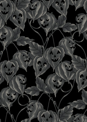JACK-O-LANTERN VINE - CHARCOAL from the Spellcasters Garden Fabric Line, Toad Hollow Fabrics