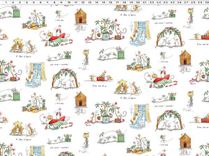 CHRISTMAS SCENES in White from the Just What I Wanted Fabric Line, Toad Hollow Fabrics