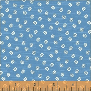 A STITCH IN TIME - Blue Flowers - by Whistler Studios, 100% Cotton, Toad Hollow Fabrics
