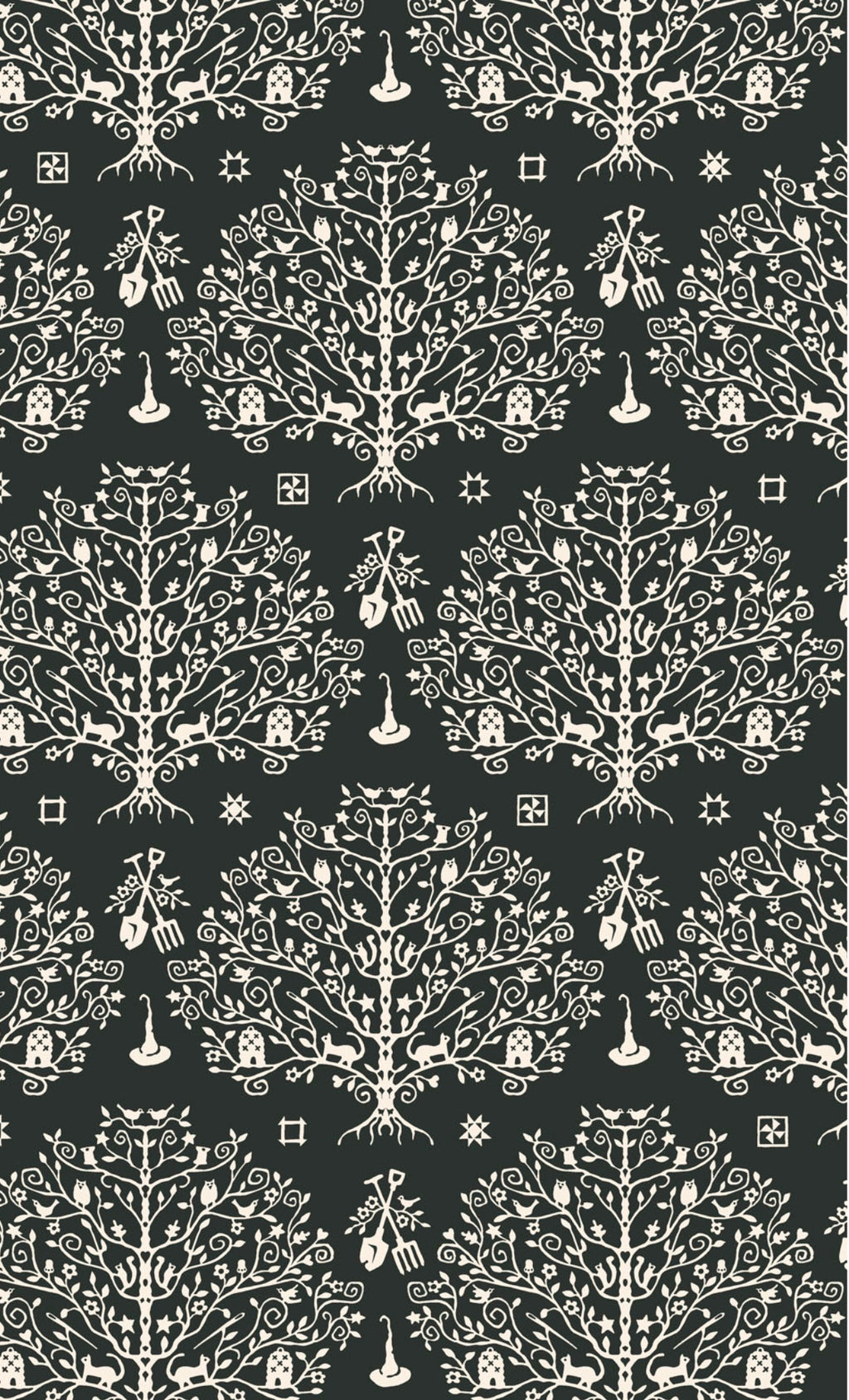 PAPER CUT TREE - BLACK from the Spellcasters Garden Fabric Line, Toad Hollow Fabrics