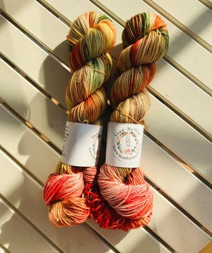 FALLING LEAVES,Hand Dyed Superwash Merino Yarn,Sock Toad