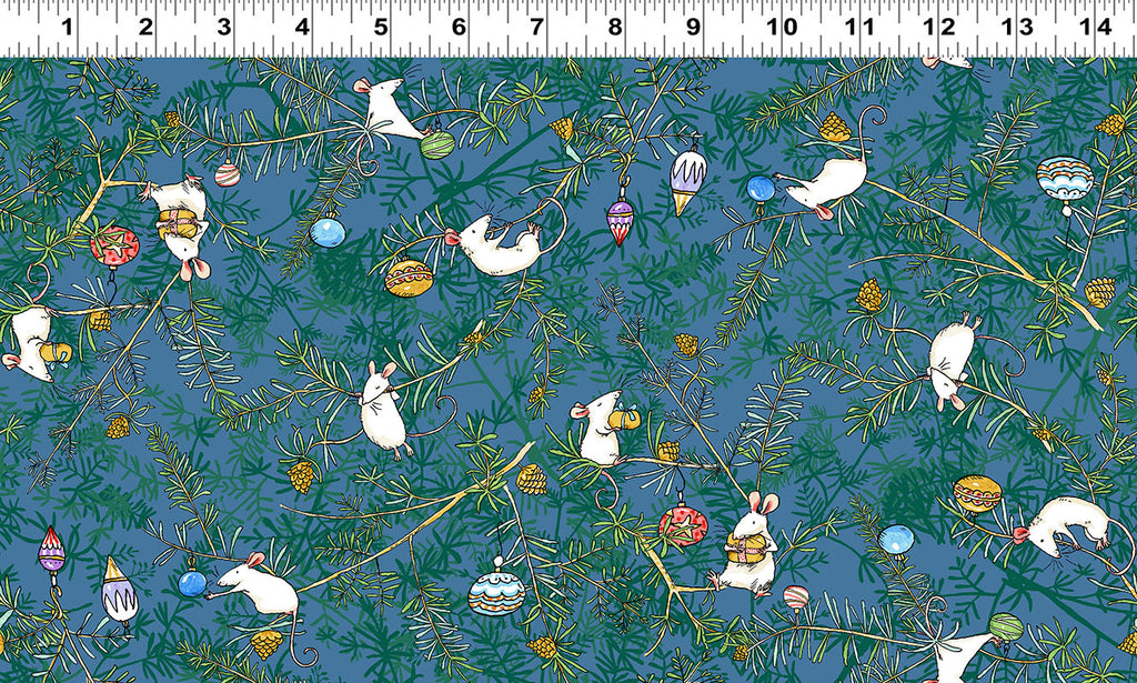 MOUSE PLAY in Denim from the Just What I Wanted Fabric Line, Toad Hollow Fabrics
