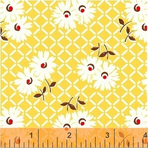 SUGARSACK II- White Flowers/Yellow Background - by Whistler Studios, 100% Cotton, Toad Hollow Fabrics