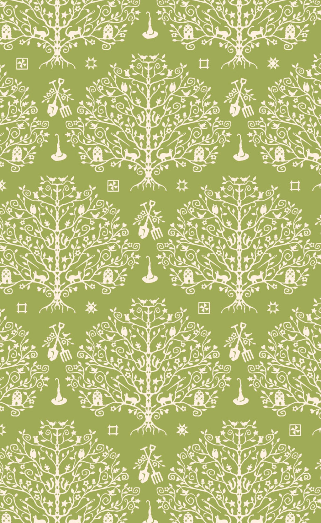 PAPER CUT TREE - GREEN from the Spellcasters Garden Fabric Line, Toad Hollow Fabrics