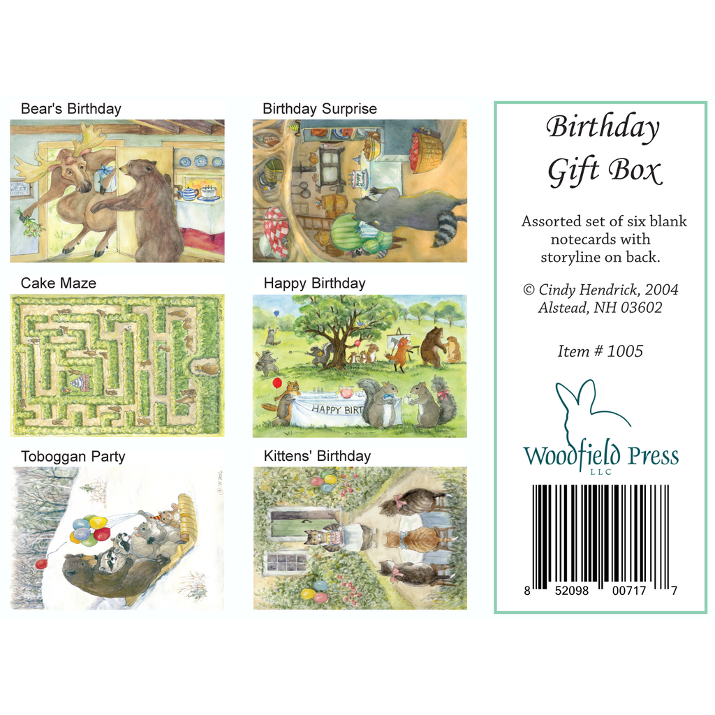 BIRTHDAY GIFT BOX SET of cards - Box of 6 Cards from Woodfield Press Toad Hollow Fabrics