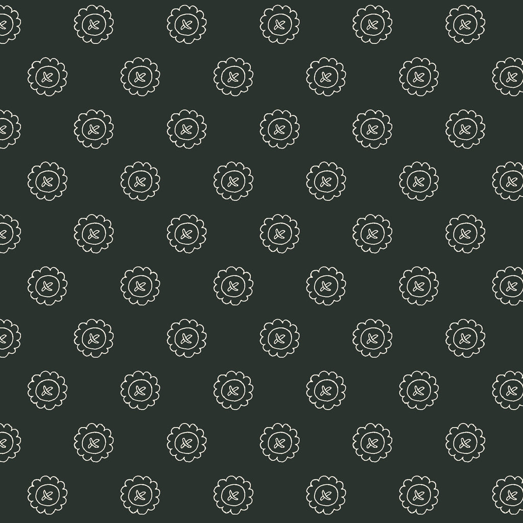 SINGLE BUTTON - BLACK from the Spellcasters Garden Fabric Line, Toad Hollow Fabrics