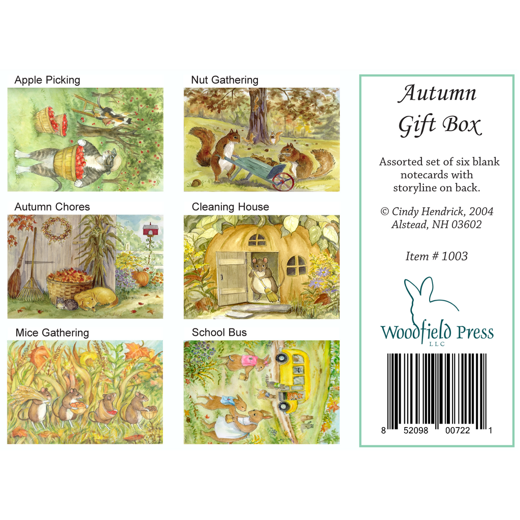 AUTUMN GIFT BOX SET of cards - Box of 6 Cards from Woodfield Press Toad Hollow Fabrics