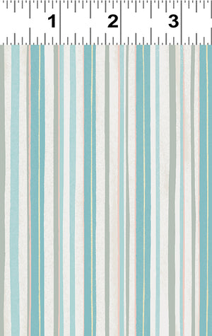 STRIPE in Light Teal from the Woodland Winter Line, Toad Hollow Fabrics