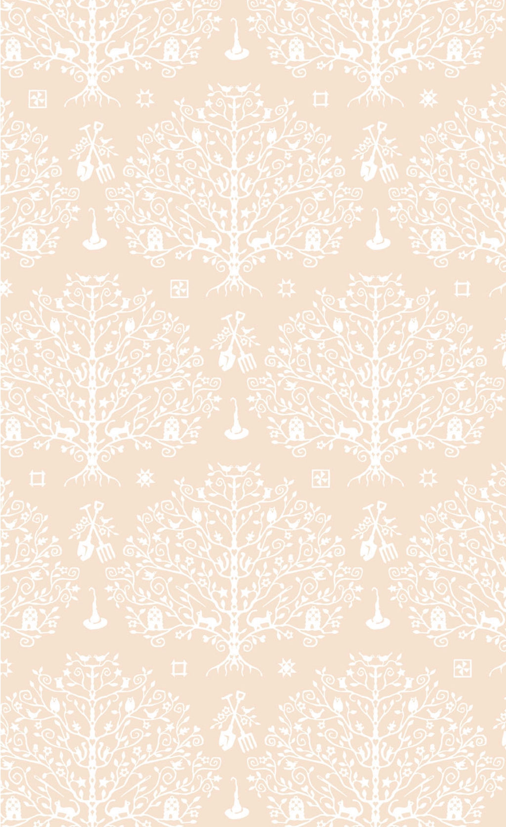 PAPER CUT TREE - CREAM from the Spellcasters Garden Fabric Line, Toad Hollow Fabrics