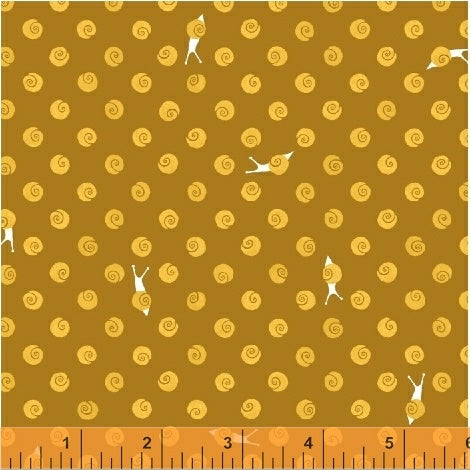 SWEET OAK - Snails on Gold Background by Striped Pear Studio, 100% Cotton, Toad Hollow Fabrics