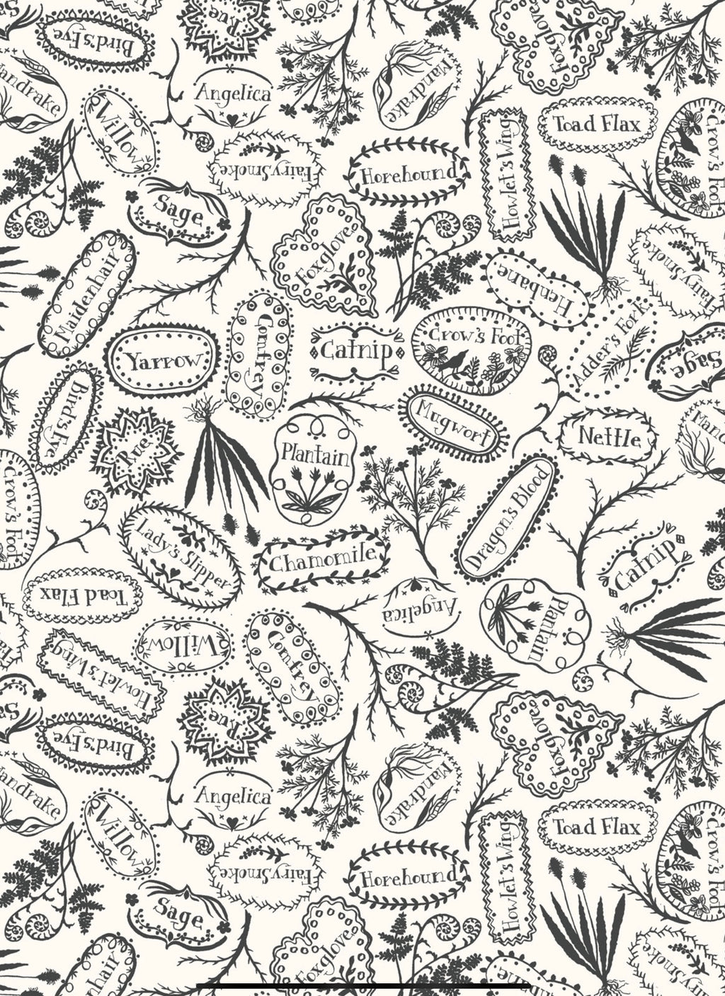 PLANT MARKERS - BLACK from the Spellcasters Garden Fabric Line, Toad Hollow Fabrics