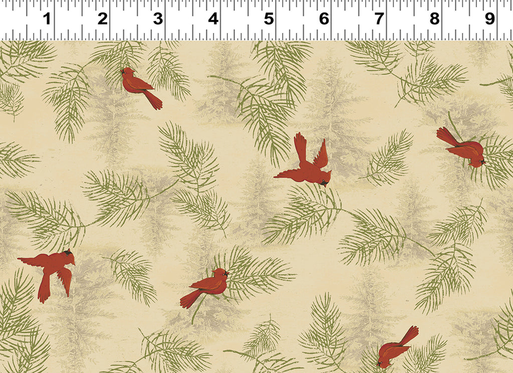CARDINALS in Dark Butter from the Let Nature Sing Line, Toad Hollow Fabrics