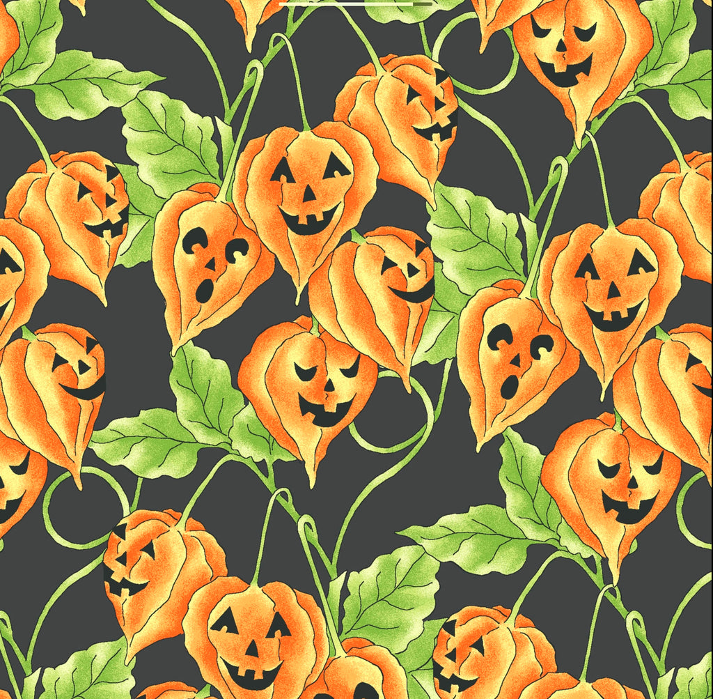 JACK-O-LANTERN VINE - BLACK from the Spellcasters Garden Fabric Line, Toad Hollow Fabrics