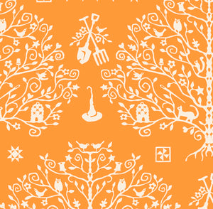 PAPER CUT TREE - ORANGE from the Spellcasters Garden Fabric Line, Toad Hollow Fabrics