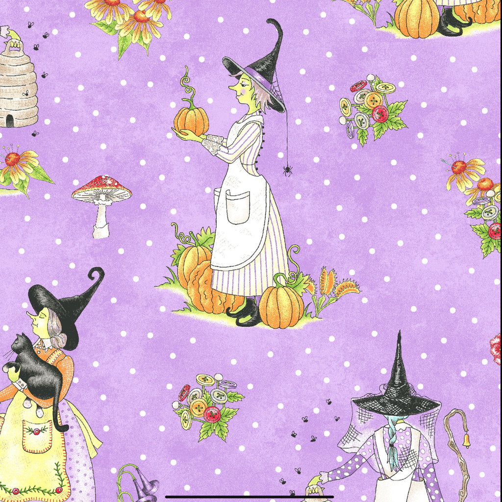 LITTLE WITCHES - PURPLE from the Spellcasters Garden Fabric Line, Toad Hollow Fabrics