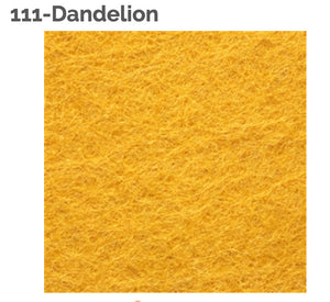 DANDELION - 100% Wool Felt from Barefoot Fibers, 8x12 sheet, Toad Hollow Fabrics