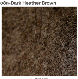 DARK HEATHER BROWN - 100% Wool Felt from Barefoot Fibers, 8x12 sheet, Toad Hollow Fabrics