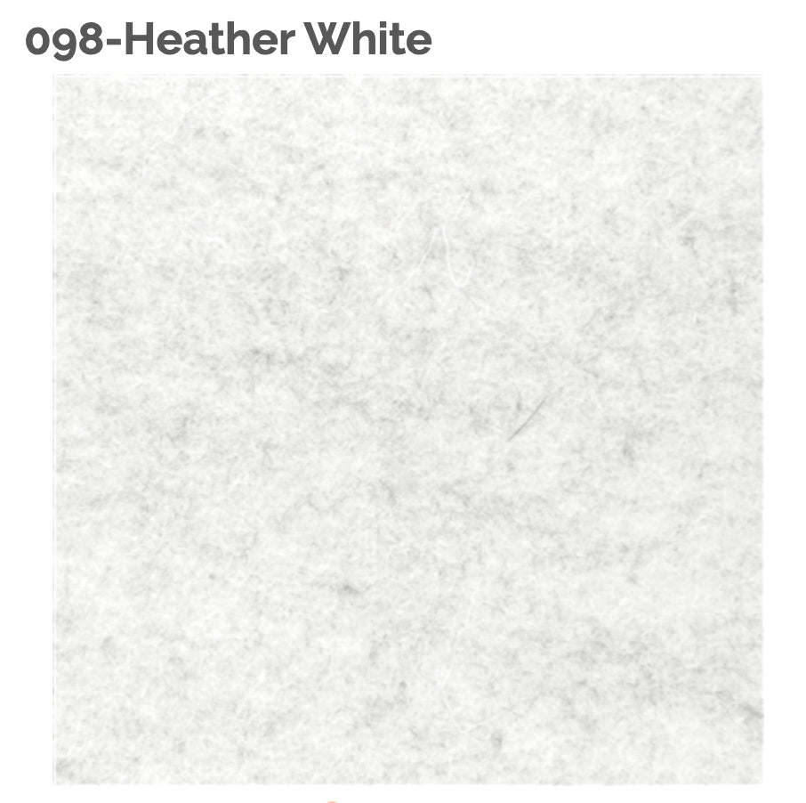 HEATHER WHITE - 100% Wool Felt from Barefoot Fibers, 8x12 sheet, Toad Hollow Fabrics