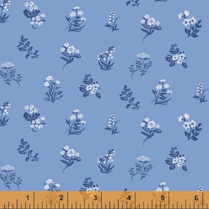 ENGLISH GARDEN - Flowers on Blue, by Windham, 100% Cotton, Toad Hollow Fabrics