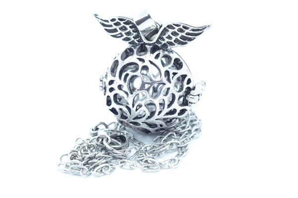 Silver Winged Wish Box Necklace
