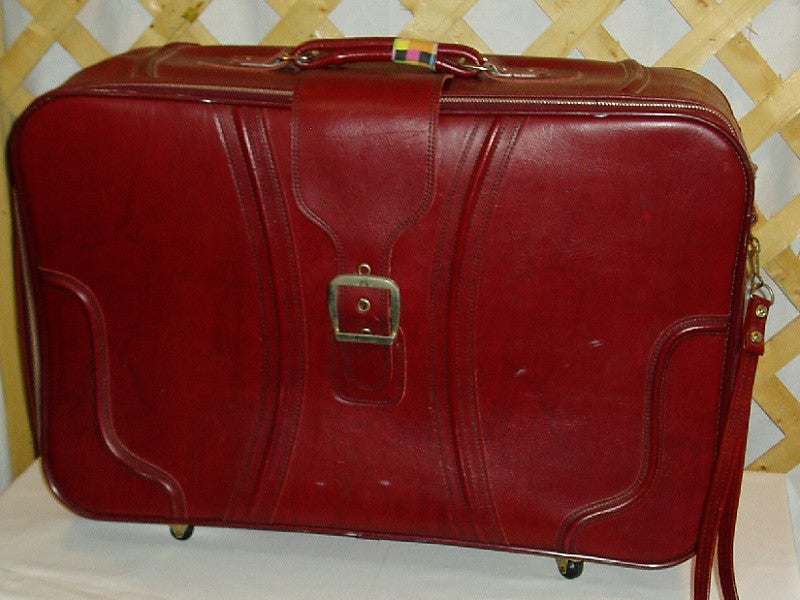 Red Plastic Vintage Suitcase