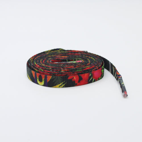 Printed Shoelaces - Hibiscus Floral Flat Shoelaces