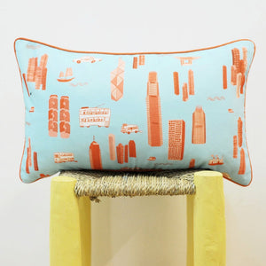 Cushion - Baby Blue & Orange