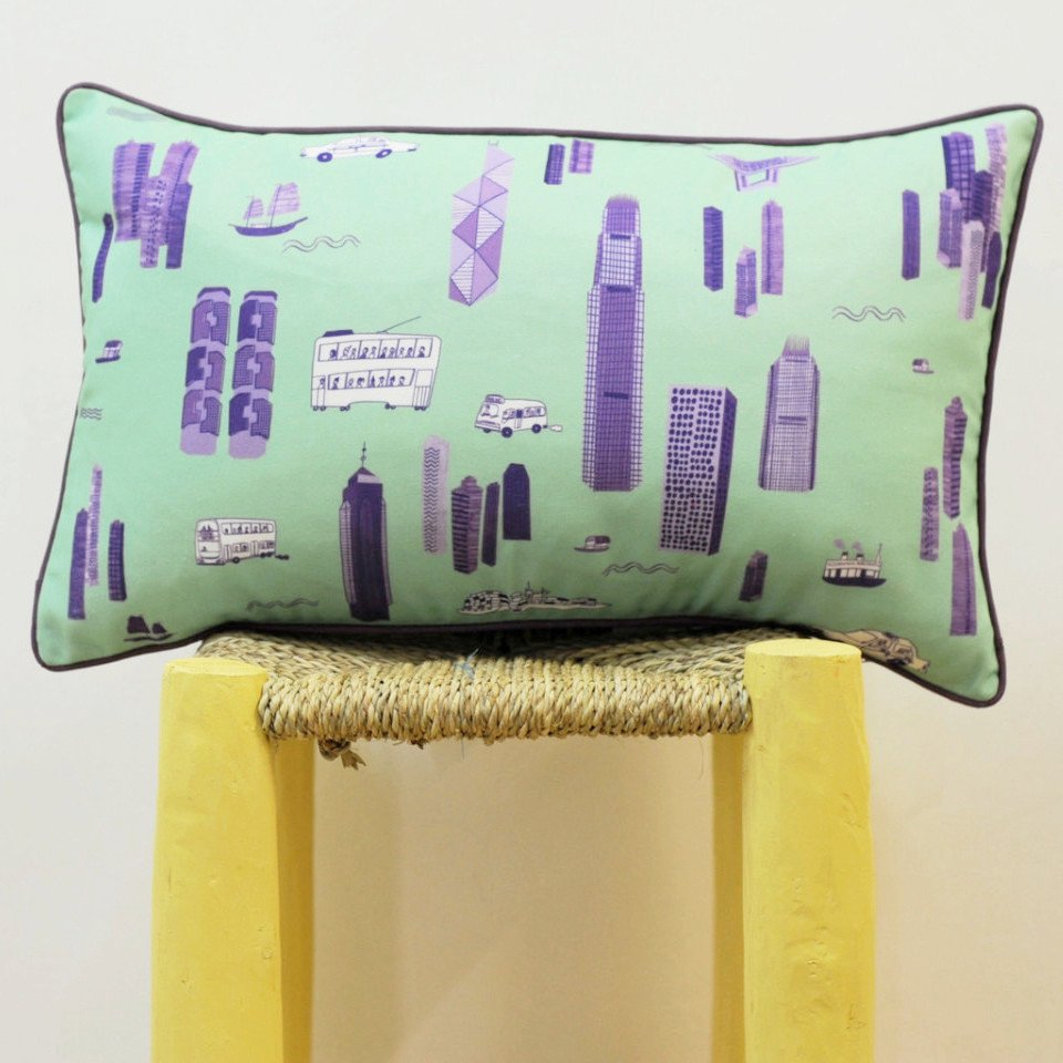 Cushion - Mint Green & Purple