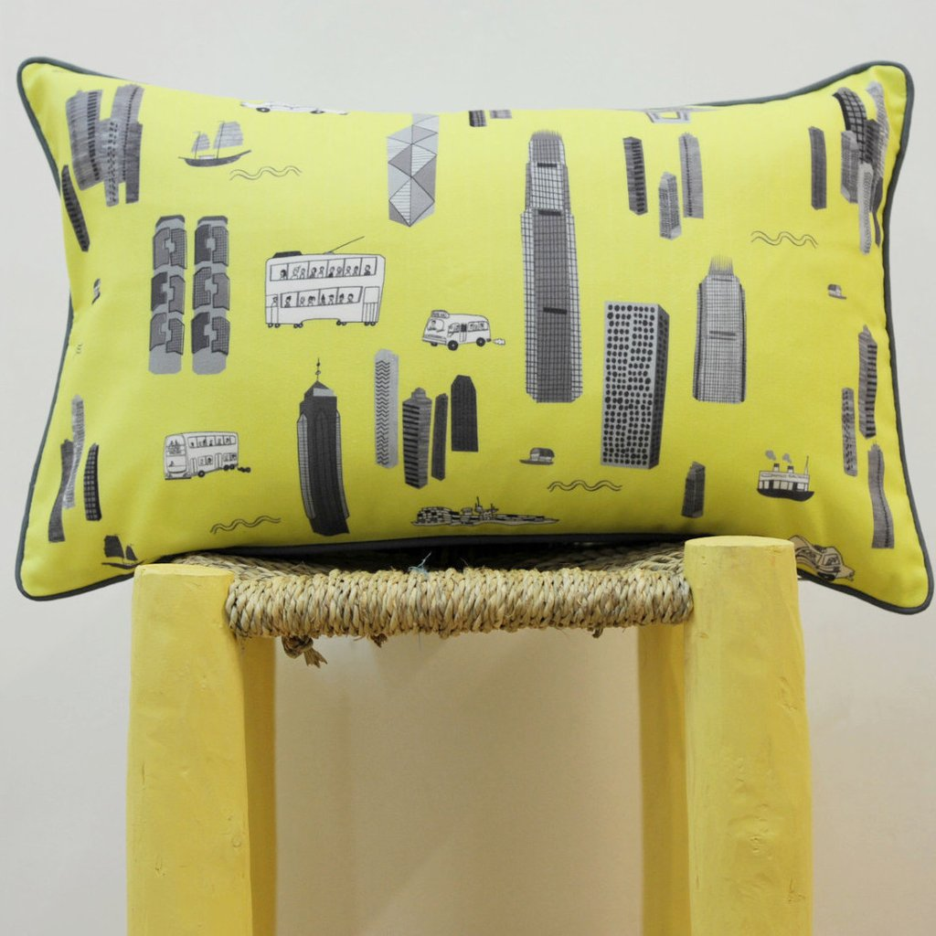 Cushion - Bright Yellow & Grey