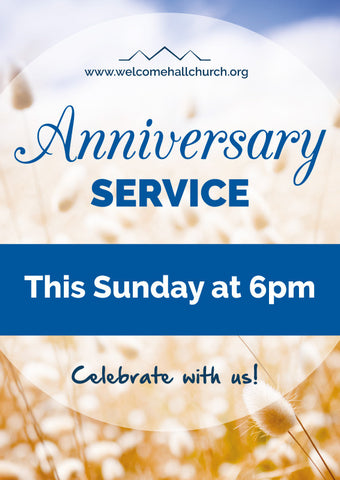Church Anniversary Service Large Format Event Poster