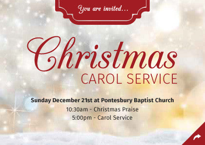 Christmas Carol Service Invitation Cards (A6)