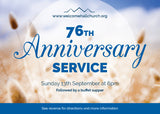 Church Anniversary Service Invitation Cards (A6)