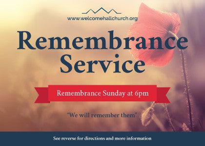 Remembrance Day Service Invitation Cards (A6)