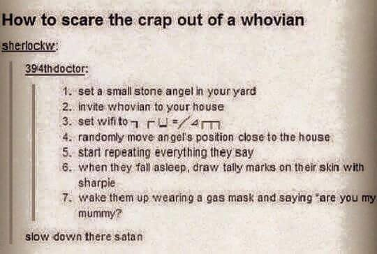 WibbilyWobblyTimeyWimey.com How to scare the hell out of a Whovian