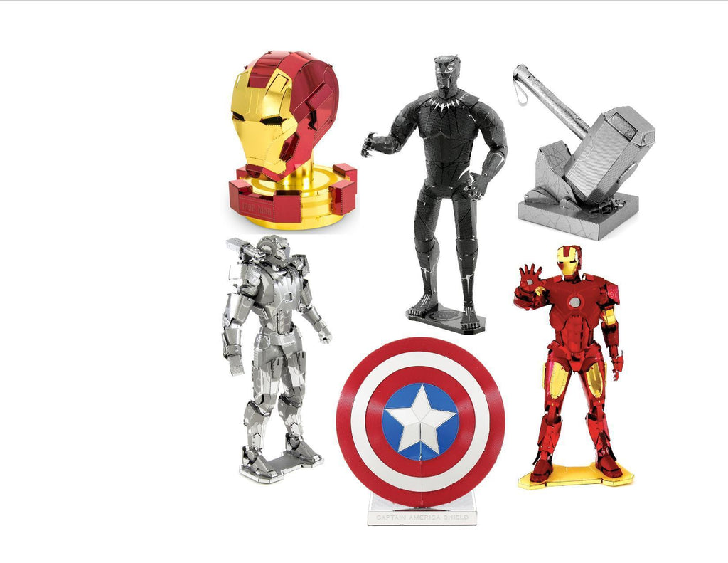 6 Piece Marvel Set Iron Man, war Hammer, Captain America's Shield, Thor's Hammer Iron Man Mask and NEW BLACK PANTHER - Doctor Who - Wibbly Wobbly Timey Wimey